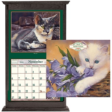 Pine Ridge Art Inc. Wall Calendar with Frame, Nine Lives