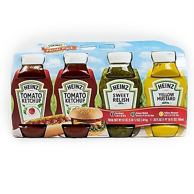 Heinz® Picnic Pack, Ketchup, Sweet Relish, Yellow Mustard, 4/Count (220-00444)