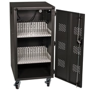 "HamiltonBuhl 21.7"" 30 Bay Tablet, iPad and Chromebook Charging & Storage Cart, Metal, Black (LTAB-30)"