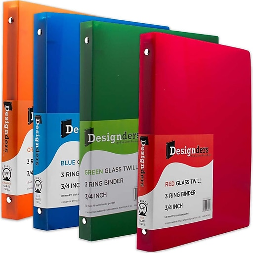 jam paper assorted 75 inch plastic 3 ring binders red green