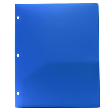 JAM Paper® Plastic Heavy Duty 3 Hole Punched Two Pocket School Folder, Blue, 12/Pack (383HPbbug)