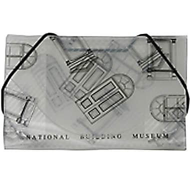 JAM Paper® Plastic Business Card Case, National Building Museum Design Clear/Black, 5/Pack (366662g)