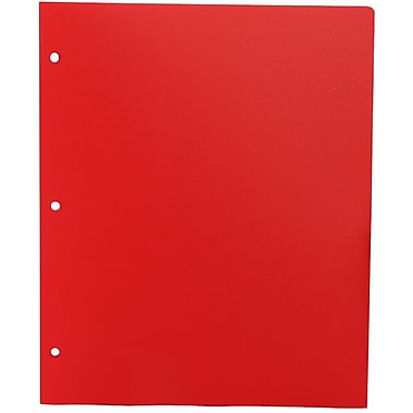 JAM Paper® Plastic Heavy Duty 3 Hole Punched Two Pocket School Folder, Red, 12/Pack (383HHPreg)