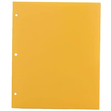 JAM Paper® Plastic Heavy Duty 3 Hole Punched Two Pocket School Folder, Yellow, 12/Pack (383HHPyeg)