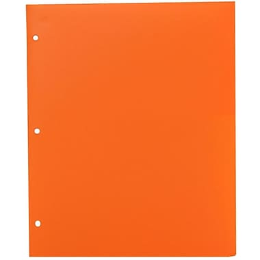 JAM PaperMD – Chemise de présentation d'école en plastique à 3 trous à 2 pochettes, orange, paquet de 12