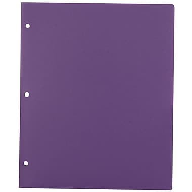 JAM Paper® Plastic Heavy Duty 3 Hole Punched Two Pocket School Folder, Purple, 12/Pack (383HHPpug)