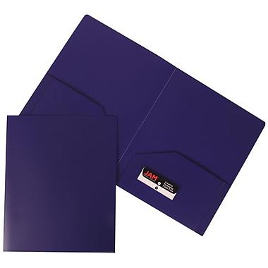 JAM PaperMD – Chemise de présentation d'école en plastique robuste à 2 pochettes, violet, paquet de 12