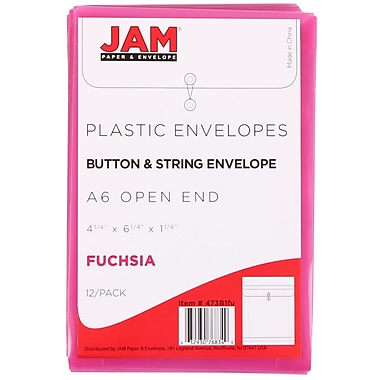 JAM Paper® Plastic Envelopes with Button and String Tie Closure, Open End, 4.25 x 6.25, Fuchsia Pink Poly, 24/Pack (473B1fug)