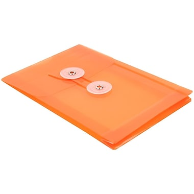 JAM Paper® Plastic Envelopes with Button and String Tie Closure, Open End, 4.25 x 6.25, Orange Poly, 24/Pack (473B1org)