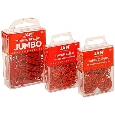 JAM Paper® Colored Standard Paper Clips, Small, Red Paperclips, 24 packs of 25 (21825142g)