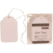 JAM Paper® Gift Tags with String, Extra Small, 1.75 x 2.75 , White, 100/Pack (91927629g)