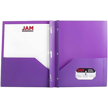 JAM Paper® Plastic Eco Two Pocket Clasp School Folders with Prong Clip Fasteners, Purple, 12/Pack (382ECpug)