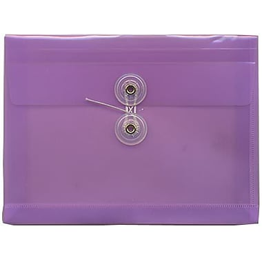JAM Paper® Plastic Envelopes, Button and String Tie Closure, Index Booklet, 5.25 x 7.5, Lilac Purple Poly, 24/Pack (920B1lilacg)