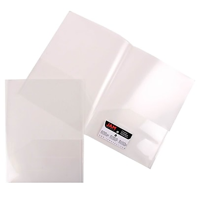 JAM Paper® Plastic See Through Two Pocket Folder, Clear, 6/Pack (381CLEARD)
