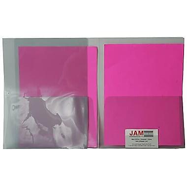JAM PaperMD – Chemises de plastique transparentes à 2 pochettes, gris fumée, 12/pqt