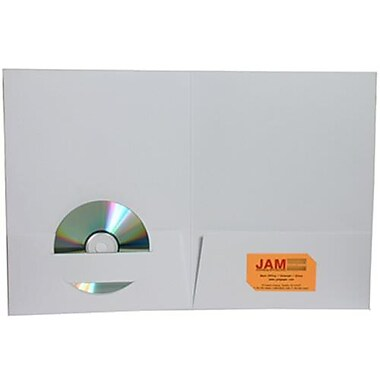JAM Paper® Premium Paper Cardstock Two Pocket Presentation Folders, White, 12/Pack (6194703g)