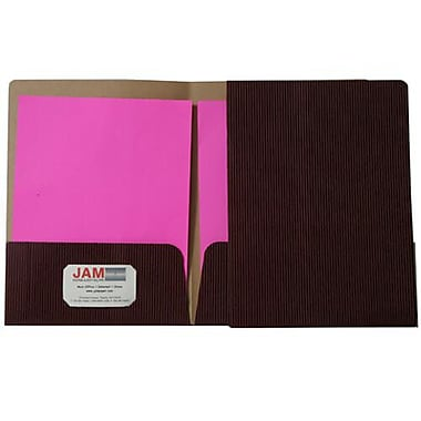 JAM Paper® Corrugated Fluted Folder, Burgundy, 12/Pack