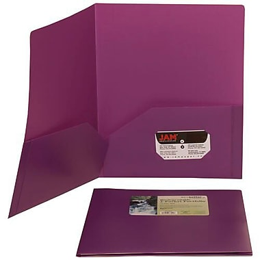 JAM Paper® Plastic Biodegradable Two Pocket Eco Folder, Purple, 12/Pack