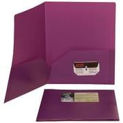 JAM PaperMD – Chemise Eco en plastique biodégradable à deux pochettes, violet, paquet de 12