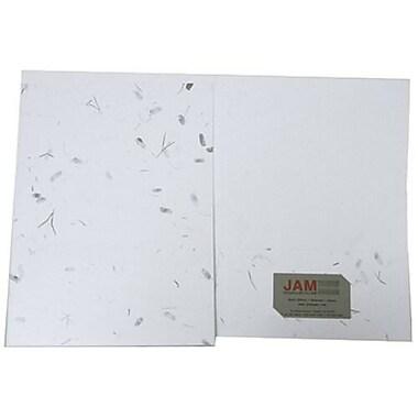 JAM Paper® Two Pocket Handmade Presentation Folders, White with Green Leaves, 12/Pack (5935824g)