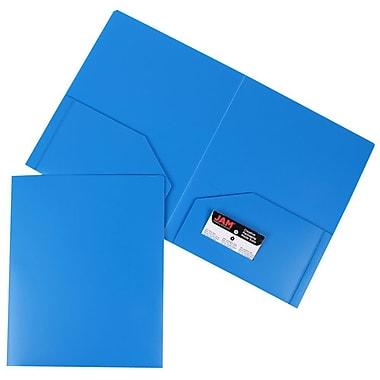 JAM Paper® Plastic Heavy Duty Two Pocket Folders, Blue, 12/Pack (383Hbug)