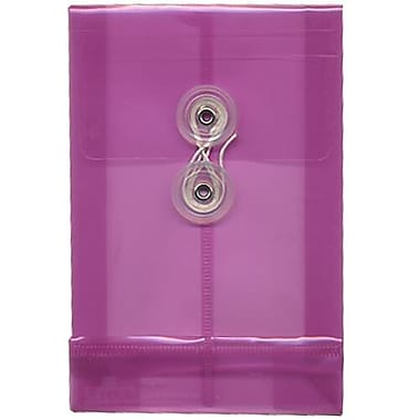 JAM Paper® Plastic Envelopes with Button and String Tie Closure, Open End, 4.25 x 6.25, Magenta Pink Poly, 24/Pack (473B1mag)