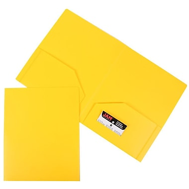 JAM Paper® Plastic Heavy Duty Two Pocket Folders, Yellow, 12/Pack (383Hyeg)