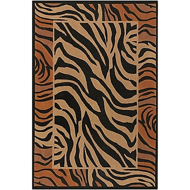 Chandra Safari Brown/Black Zebra Print Area Rug; Square 7'9''