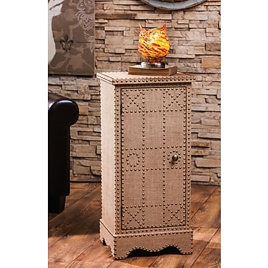 Evergreen Enterprises, Inc Burlap Covered Wooden 1 Door Cabinet w/ Stud Detail