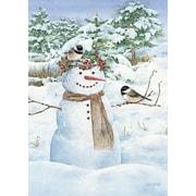 """LANG Chickadee Snowman 12"""" x 18"""" Mini Garden Flag (1700012)"""