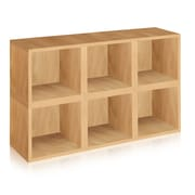 Way Basics Eco-Friendly 6 Stackable Modular Storage Cubes, Natural Wood Grain