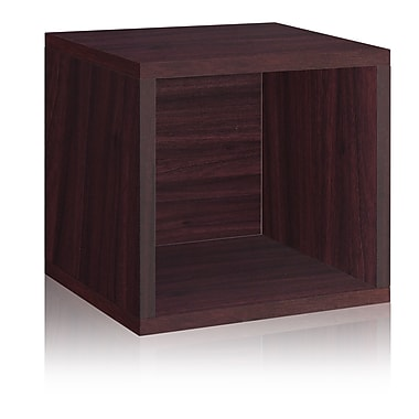 Way Basics Eco-Friendly Stackable Storage Cube Organizer, Espresso Wood Grain - Lifetime Warranty