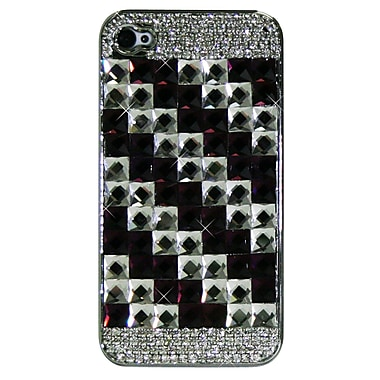Exian Case for iPhone 4, Crystals Squares Purple & Silver