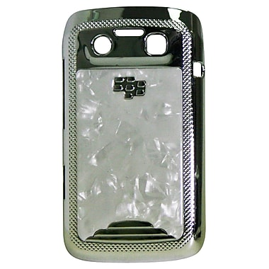 Exian Case for Blackberry Bold 9790, White Marble with Silver Sides