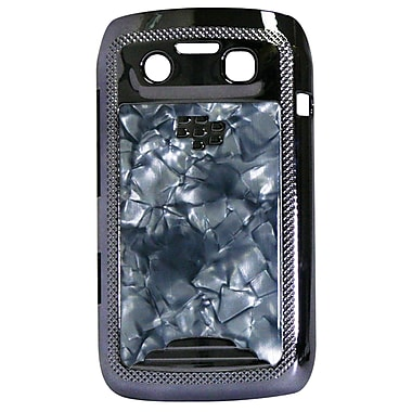 Exian Case for Blackberry Bold 9790, Grey Marble with Silver Sides