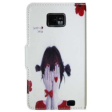 Exian Case for Galaxy S2, Leather Wallet Girl Covering Face Design