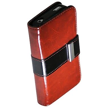 Exian – Étui portefeuille en cuir pour iPhone 4/4s avec attache et fentes pour cartes, brun
