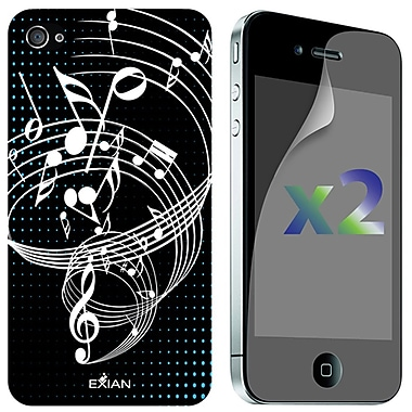 Exian iPhone 4/4s Screen Guards x2 & TPU Case, Musical Notes on Staff Black