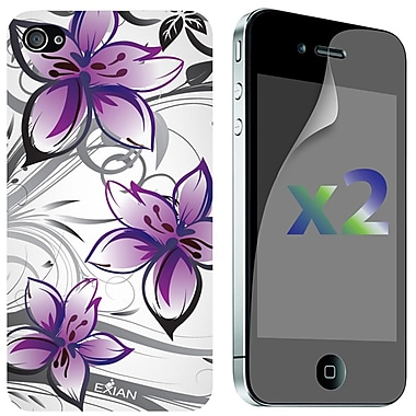 Exian iPhone 4/4s Screen Guards x2 & TPU Case, Floral Pattern White & Purple