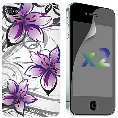 Exian – Deux protecteurs d'écran et étui en TPU pour iPhone 4/4s, motifs floraux, blanc et violet