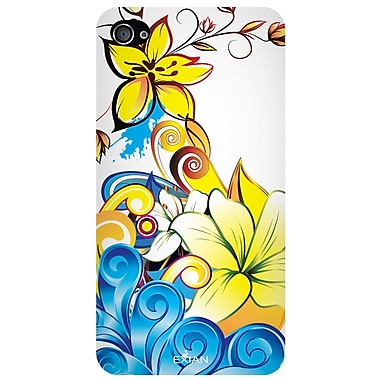 Exian iPhone 4/4s TPU Flowers Case, Canadian Cancer Society Blue & Yellow