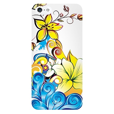 Exian iPhone SE/5/5s TPU Flowers Case, Canadian Cancer Society Blue & Yellow