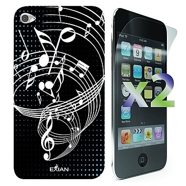 Exian Case for iPod Touch 4, Musical Notes Black
