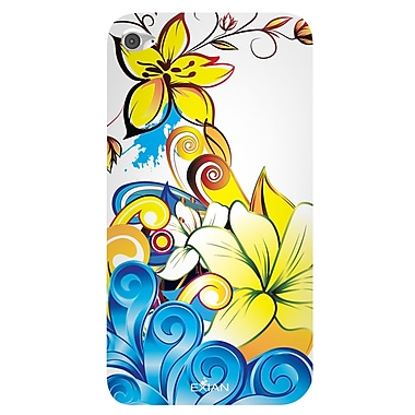 Exian Case for iPod Touch 4, Floral Pattern Yellow Blue White