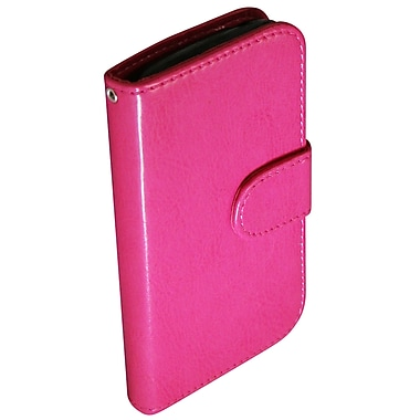 Exian Leather Wallet Case for Galaxy Ace 2X, Hot Pink