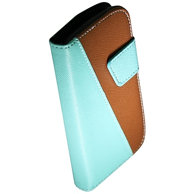 Exian Case for Galaxy Ace 2X, Leather Wallet Brown & Green