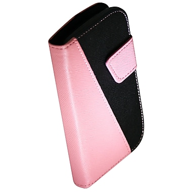 Exian Case for Galaxy Ace 2X, Leather Wallet Pink Black