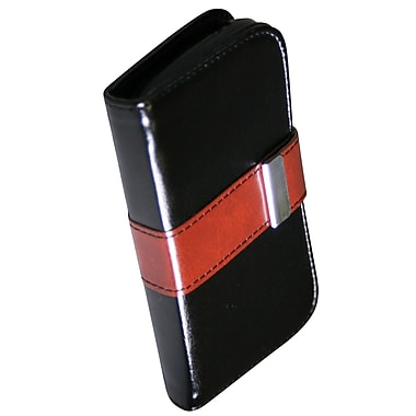 Exian Case for Galaxy Ace 2X, Leather Wallet Black with Brown Buckle