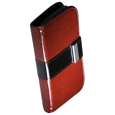 Exian Case for Galaxy Ace 2X, Leather Wallet Brown with Black Buckle