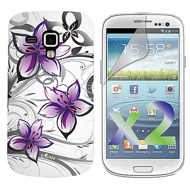 Exian Case for Galaxy Ace 2X, Floral Pattern White & Purple
